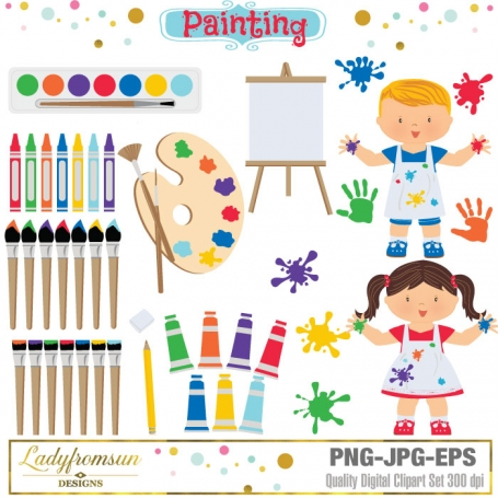 Kids Painting Clipart Set