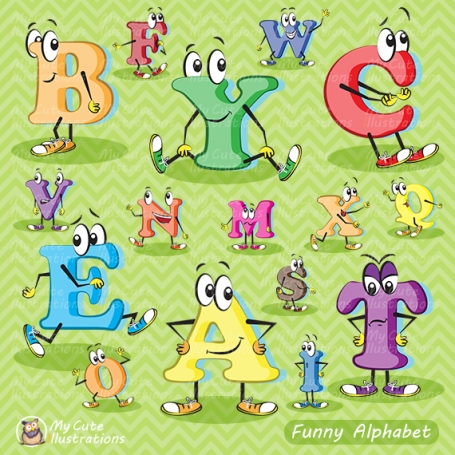 Digital alphabet clipart