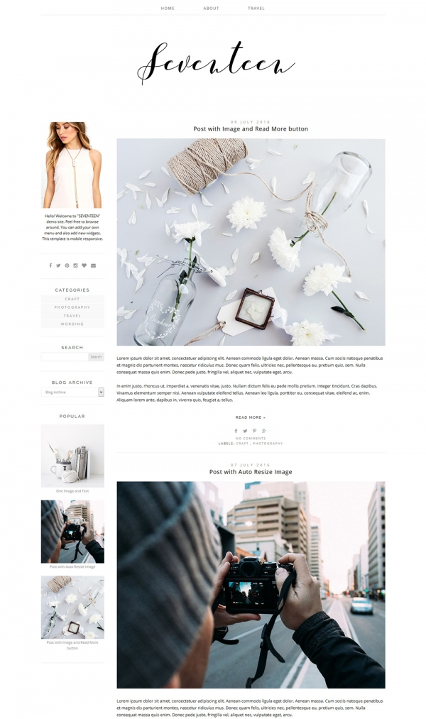Blogger Template For Photography Lifestyle Blog Seventeen Web