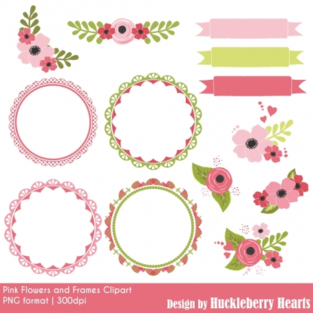 Pink Flowers & Frames Clipart