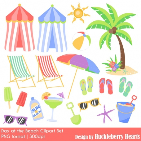 Day at the Beach Clipart Set