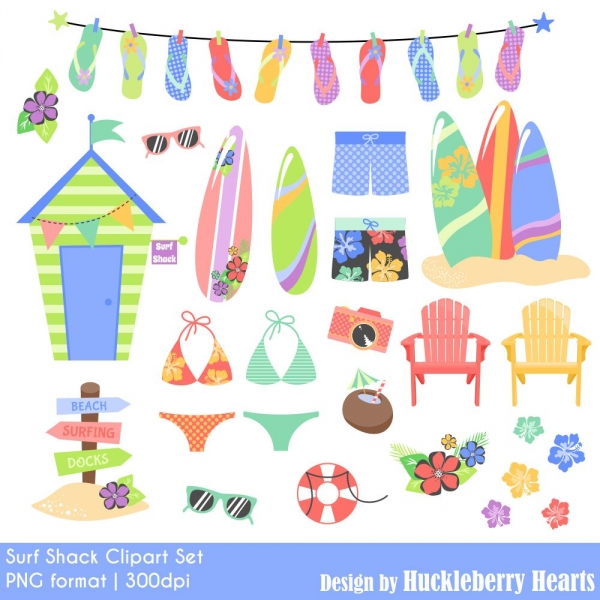 Surf Shack Clipart Set Graphics Clip Art Luvly