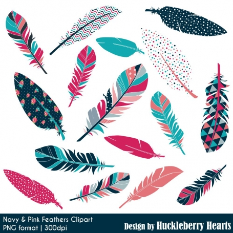 Navy & Pink Feather Clip Art