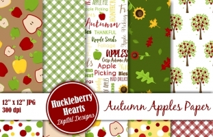 Autumn Apples Scrapbook Paper