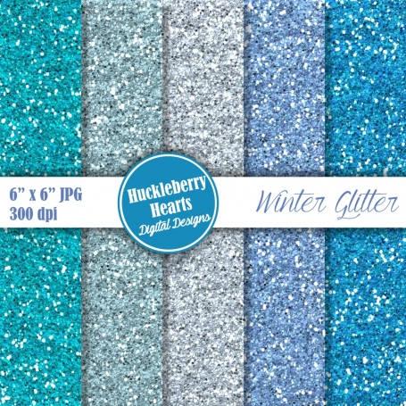 Digital Glitter Paper, Blue