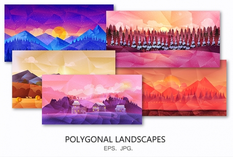 Polygonal Landscapes Vector