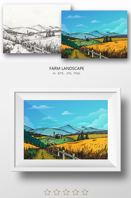 Hand Drawn Farm Nature Landscape