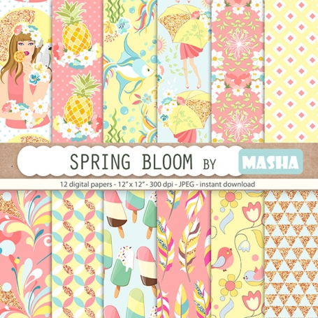Spring Bloom Digital Papers