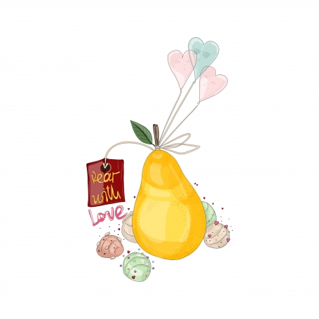 Pear with Ice Cream and Balloons