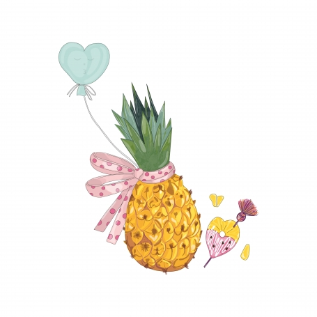 Pineapple with bow and balloon in
