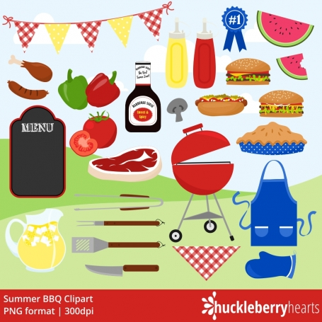 BBQ Clipart, Cookout Clipart,