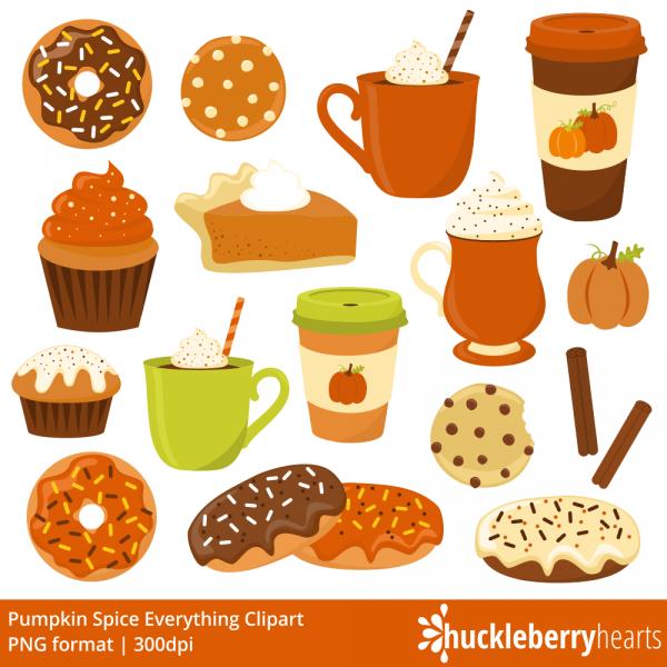 pumpkin spice clipart  fall  donut clipart  coffee clipart