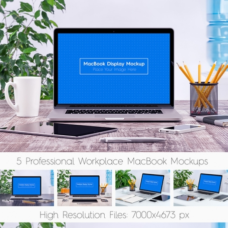 5 Workplace MacBook Display Mockups