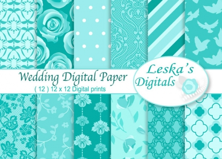 Blue Wedding Digital Paper - Robin