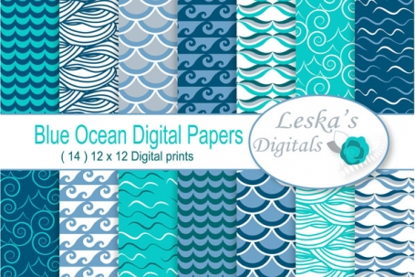 "Waves Digital Paper ""Ocean"