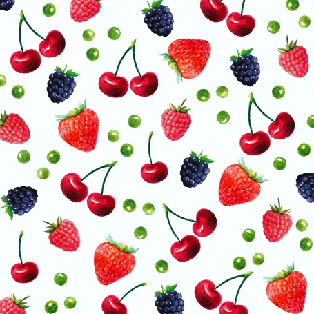 Watercolor patterns with fruits.