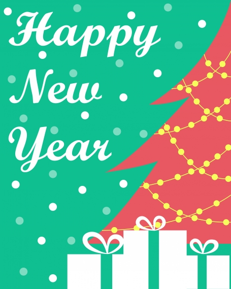 The New Year's card with a