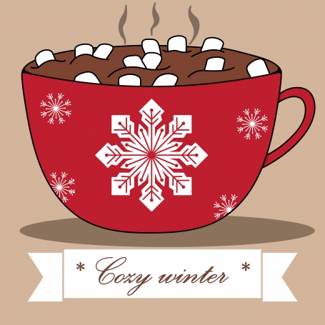 Lovely winter card with cocoa and
