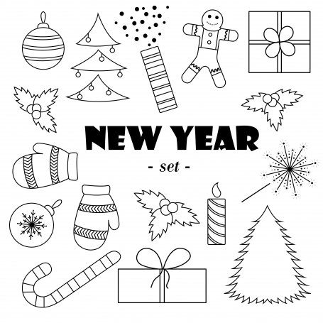 Set of black-and-white New Year's