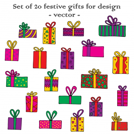 Set of 20 Festive Gifts for Design