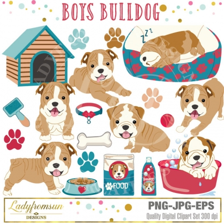 Boys Bulldog clip art, french
