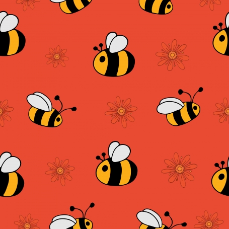 Bees and Flowers Seamless Pattern