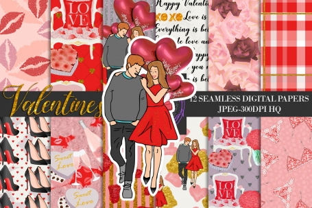 Valentine's Digital Paper Pack