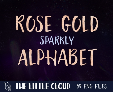 Rose Gold Alphabet Clipart