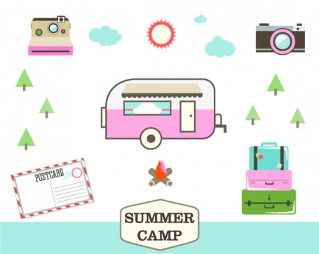 Retro Camping Clipart Set -