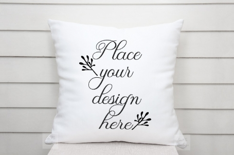 Monochromatic white pillow mockup