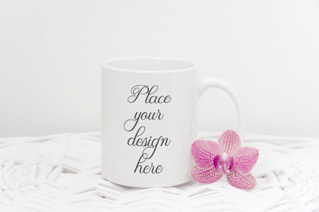 White Coffee Mug Floral Stock