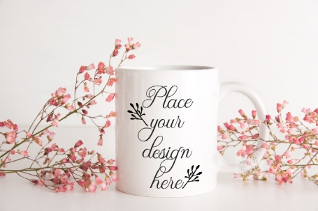 Floral Romantic Coffee Mug Mockup