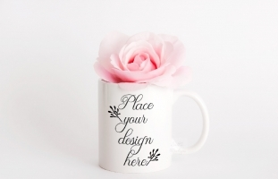 White Coffee Mug Mockup Floral