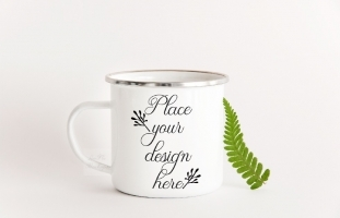 Camp Mug Enamel Metal Cup Mock Up