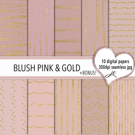 Blush Pink and Gold Digital Paper