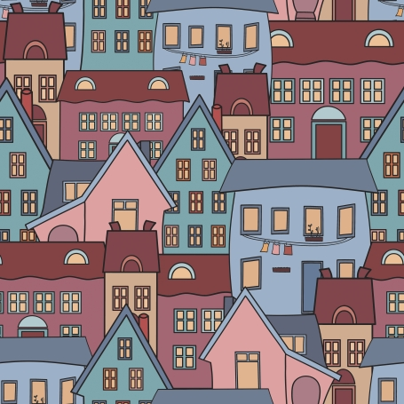 colorful houses seamless pattern