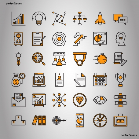 Set of Business Color Line Icons