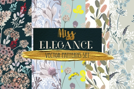 Floral Vector Seamless Patterns