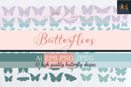Vector Butterfly Shapes Set
