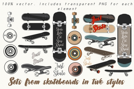 Skateboard Vector Set
