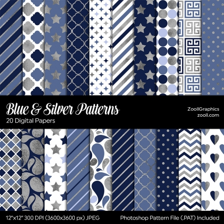 Blue & Silver Digital Papers
