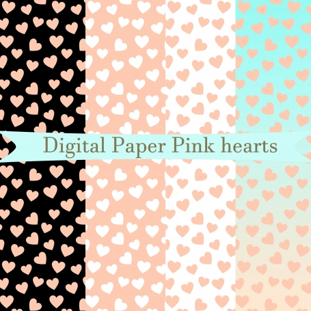 Digital Paper Pink hearts