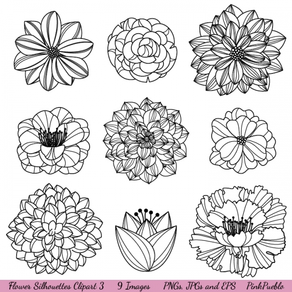 Flower silhouettes clip art iii graphics clip art luvly
